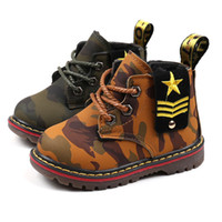 Wholesale Military Camo Patterns - Kids 2colors camo pattern martin boots plush warm lining spring autumn winter infants Military style lace-up shoes for boys girls 1-5T