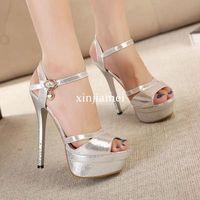 Wholesale Sandal Silver High Heel Platform - New 2015 Summer Rome Style Fashion 14cm Women Sandals Platform High Heels Sandals Luxurious Gold Silver Lady's Shoes