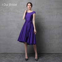 Wholesale Purple Silk Shirts - Short Cap Sleeve Knee Length Spandex Fabric Mother of the Bride Dress with Belt Simple Fit Wedding Mother Dress