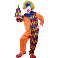 Wholesale Clown Dance Costumes - Color Grid Halloween Clown Cosplay Costumes Adult Performance Masquerade Party Wear Coverall Hat Props Set Dancing Club Clothing SD621