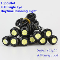 Wholesale red led parking lights - 10PCS LED Mini Eagle Eye Parking Daytime Driving Tail Light Backup DRL Fog Lamp Bolt on Screw Car Lighting LED agle Eye lamp