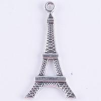 eiffel colares venda por atacado-Diy Antique Silver / liga De Cobre Paris Torre Eiffel Charme Pingente Fit Pulseiras Colar De Jóias De Metal Fazendo 300 pçs / lote 719