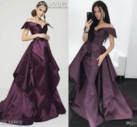 Wholesale One Shoulder Plum Chiffon - Mnm couture plum Grape Mermaid Evening Pageant Dresses with Overskirt 2017 Modest Dubai Arabic Off Shoulder Plus Size Occasion Prom Dress