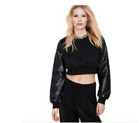 Wholesale Leather Hoodie Shirts - Women Brand PU Leather Patchwork Black Cropped Short Sweatshirts Hoodies Casual Crop Top Sweatshirt Women Pullover T-shirt 907A