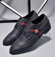 Men Oxford Shoes, Men Blue Lace-Up couro genuíno, sapatos de vestido, estilo de luxo Man Wedding Party Shoes Tamanho grande 39-45