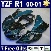 Fit para YAMAHA YZF R1 carenagem kits 2000 2001 modelo azul chamas partes do corpo yzf1000 00 01 DIY cor yzfr1 carenagens conjunto carroçaria G7N6