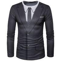 Wholesale Tuxedo Shirt Long Tie - Novelty Men T Shirts 2017 New Brand Tuxedo Tees Homme Retro Tie Slim Fit Camisetas Men Long Sleeve Casual Tuxedo Shirt Tie