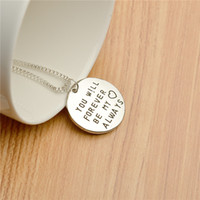 Wholesale coin jewelry online - 2018 father s day engraved letters you will forever be my heart always round Pendant Alloy coin Necklaces Fashion love Jewelry Gift