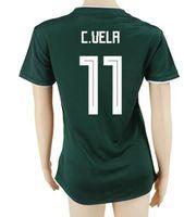 thai-mexiko-trikots großhandel-18-19 Thai Qualität Mexiko Frauen Trikots, Customized Womens Soccer Jerseys Shirts, 14 Chicharito J. Hernandez 11 C.VELA Soccer Wear