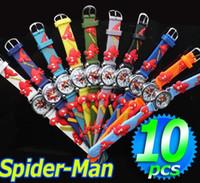 çocuk kol saatleri toptan satış-Toptan 10 adet Örümcek adam 3D Karikatür Çocuk Çocuk Boys Öğrenciler Kuvars Bilek Saatler, Ücretsiz Drop Shipping