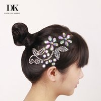 Wholesale Latin Headdress - 10 Pieces Fashion headbands Modern Latin Dance Headdress Waltz Tango Foxtrot Quickstep Children Headwear Flower Diamond 2017 New Arrival