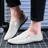 FOORAABO Moda 2017 Homens Calçados de lona de verão Flat Men Casual Shoes Slip On Lazy Male Flats Shoes Cheap Mocassins Men Loafers