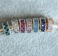 Wholesale 925 blue sapphire bracelet - Original Authentic 925 Sterling Silver sapphire pink blue cz Clip charm Beads Charms Fit Pandora Bracelets for women wedding jewelry Gift