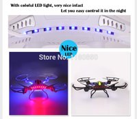 Wholesale Gyro Photography - Wholesale-White Case Cool Led Light JJRC H8c Explorers 2.4G 4CH 6Axis Gyro RC Quadcopter Aircraft With HD Camera RTF Aerial Photography
