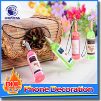 Wholesale Cute Phone Accessories - Men Women Unisex Cute Wine Bottle Key Chain Cell Phone Hanging Key Ring DIY Material Accessories