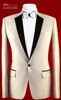 ingrosso groom groomsmen foto-Real Photo 3 pezzi Smoking dello sposo Risvolto con risvolto One Button Groomsmen Uomini Blazer Wedding Clothinf Prom Suit (Jacket + Pants + Tie)