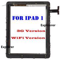 reemplazo de pantalla táctil digitalizador 3g al por mayor-Prueba superada para el iPad 1 3G WiFi VERSION 100% original de la pantalla táctil de cristal digitalizador de montaje con etiqueta engomada del marco del envío libre Negro