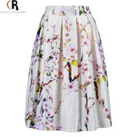 Wholesale Black Stockings Waist High - Women Sakura Floral Print Elastic High Waist Pleated Long Midi Skater Skirt 3 Colors White Green Black In Stock 2016 Spring New