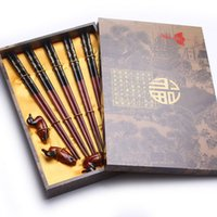 Wholesale Chopsticks Duck Holders - 5 pairs black red bamboo prosperity print chopstick cute duck holder box set Chinese characteristics TBC-00013