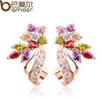 Wholesale Real Stones - Bamoer 18K Real Gold Plated Gold Flower Stud Earrings with Multicolor AAA Zircon Stone Birthday Gift Jewelry SL079
