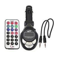 экран 12v оптовых-USB / SD / MMC автомобильный MP3-плеер, 12V автомобильный mp3, автомобильный FM-передатчик с дистанционным управлением с экранной вспышкой WMA беспроводной модулятор