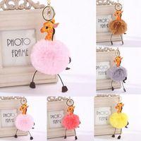 Wholesale ladies bag charm for sale - Faux Rabbit Fur Round Ball Pom Pom Cartoon Giraffe Style Lady Bag Charm Key Chain LJJO3480
