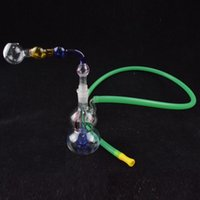 Wholesale shape hose online - 3 quot inch MIni Calabash Shape Bongs Pipes Downstem Gourd Recycler Oil Rigs mm Joint Come with Pot Roast Oil Bubbler Glass Bowl and Hose