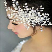 Wholesale elegant headdresses - 6 pcs lot Fashion elegant inlay imitated pearl flower hair comb headdress simple sweet temperament headdress