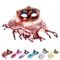 Wholesale half veil wedding - Belly Dance Sexy veil Mask Color PVC Lace Secret Women Princess Mask with Veil Masquerade Party Decoration Halloween Party Mask B281-1