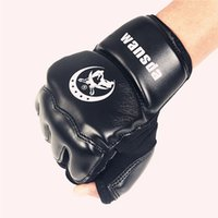 Wholesale kids mma gear resale online - Adults Kids Half Fingers Boxing Gloves Mitts Sanda Karate Sandbag Taekwondo Protector For Boxeo Mma Punch