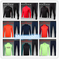 Wholesale Top Quality Jackets - kids top quality 17 18 MESSI SUAREZ survetement jacket Training suit Children soccer Jersey A.INIESTA SERGIO PIQUE O.Dembele tracksuit