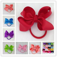 Wholesale Ribbon Hair Bow Holder - 3inch high quality grosgrain ribbon hair bow with same color elastic headband for pony tail holder for kids headwear 20pcs lot