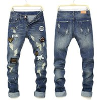 Fashion Hole Jeans da uomo Casual Slim Straight Little Feet Jeans Youth Denim Pants Uomo Pantaloni in denim Hot Nuovo Plus Size 34 36 38