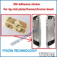 Wholesale Iphone 4s Mid Plate - Wholesale-3M Adhesive sticker for iPhone 4g 4s mid plate frame chrome bezel Free Shipping