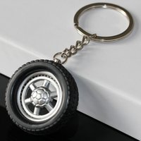 Wholesale Auto Tire Chains - Tire Keychain Creative Auto Parts Model Spinning Rubber Wheel Tyre Key Chain Ring Keyring Keyfob