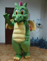 Wholesale Dragon Head Costume - SX0723 With one mini fan inside the head green dragon mascot costume with wings for adult to weear