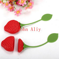 Wholesale Wholesale Price Strawberries - Amazing cheap price Tea Leaf Strainer lovely Silicone Strawberry tea bag ball sticks Loose Herbal Spice Infuser Filter Tea Tools