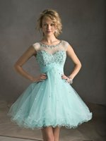 Türkisgraues Kleid Kaufen -2015 Mode Türkis Ball Cocktailkleid schiere Schulter Perlen Cocktail Party Kleid Loch Backless Heimkehr Kleider Graduierung Kleid FS467