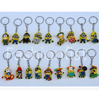 Wholesale Doll Minion 3d - Minion 3.5cm Doll 3D Key Chain Minions Keychain Key Ring The Cartoon Movie Despicable Me Action Figure Boys Girls Christmas Promotion Gift