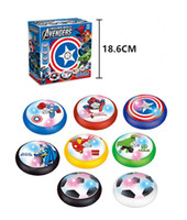 Wholesale Batman Toys Kids - Avengers Air Power Soccer Hover Disk Foam Bumpers Captain Spiderman Ironman Batman LED Lights Indoor Outdoor Football Interactive Toys
