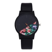 Wholesale Floral Clocks - New Vintage Leather Women Watches 2017 Luxury Top Brand Floral Pattern Casual Quartz Watch Women Clock Relogio Feminino