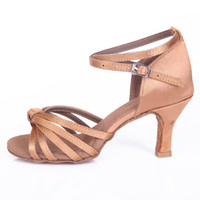 Wholesale Girls Dancing Shoes - High Quality Promotion Price Satin Ballroom Women Latin Dance Shoes Dancing Shoes for Salsa and Tango 7CM Ladies Girls