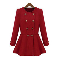 Wholesale Winter Coats For Women Sale - Wholesale-Blue red woolen Autumn Winter Coat women hot sale in 2015 new fashion style casacos femininos free shipping suits for women
