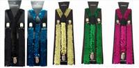 Wholesale Elastic Straps Braces Suspenders - Sequin Glitter Suspenders Jazz It Up Sparklle Straps Adjustable Elastic Unisex Braces Glamorous For Parties 12pcs lot