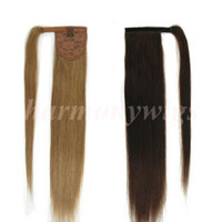 Wholesale Ash Blonde Hair Extensions - Top quality 100% Human Hair ponytail 20 22inch 100g #18 Dark Ash Blonde Double Drawn Brazilian Malaysian Indian hair extensions More colors
