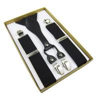 tirantes de clip para hombre y espalda al por mayor-Tirantes de cuero genuino para hombre Y-Back Vintage Braces Clip-On negro 3.5cm 100cm Envío gratuito