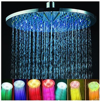 "Wholesale Thermostatic Bath Faucet - New Arrival 8"" inch RGB LED Stainless Steel Rainfall Shower Head Bath Shower Faucets Shower Set Bathroom Accessories"