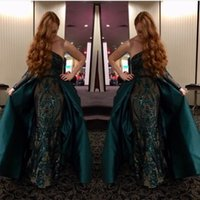 Wholesale gold sparkly shirt - 2018 Dark Green Sexy Mermaid Prom Dresses With Satin Overskirt NewOne Shoulder Long Sleeves Sparkly Sequined Evening Gowns Pageant Wear