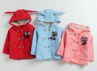Wholesale Childrens Sweater Jackets - girls fall winter coats baby christmas outwear kids hooded trench coat infant toddler girl jackets fashion coats sweaters childrens coats 4p