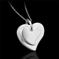 Wholesale Heart Necklaces For Cheap - Cheap fashion jewelry 925 sterling silver double heart pendant necklace Valentine's Day gift for girls free shipping